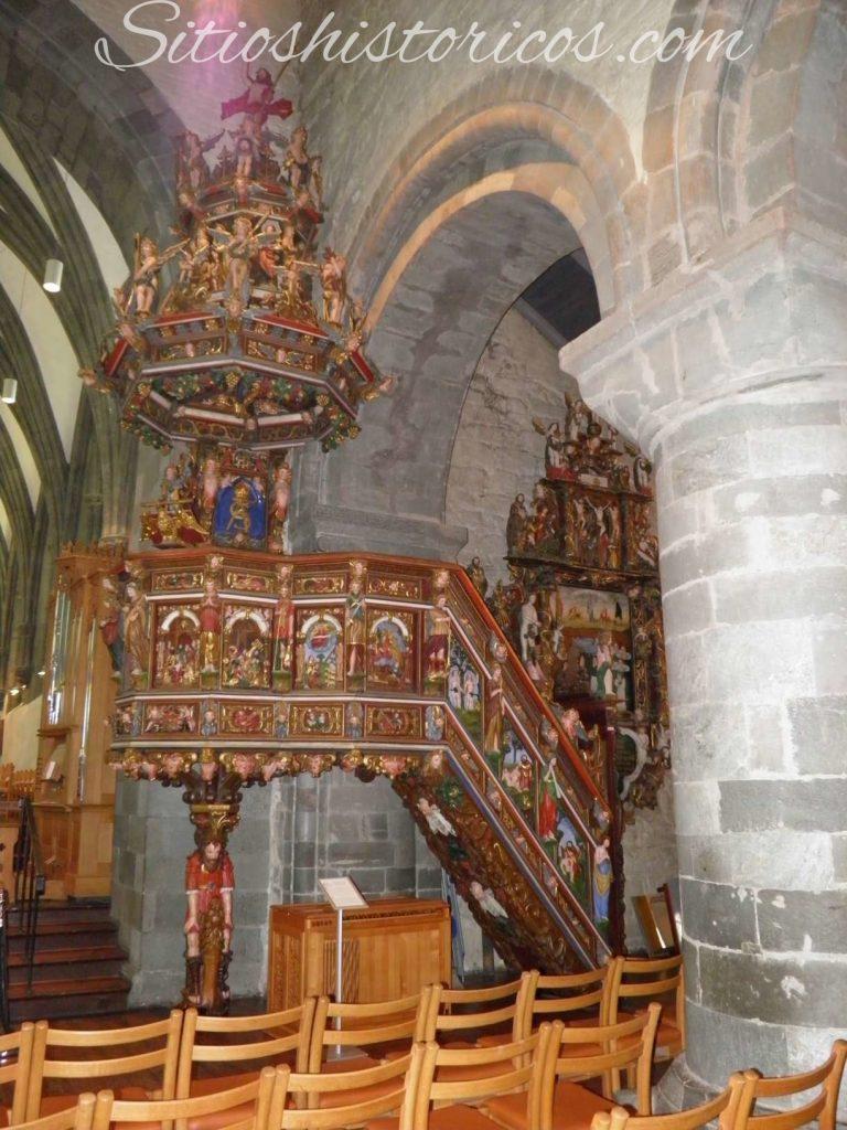Sitios históricos noruega púlpito barroco Stavanger