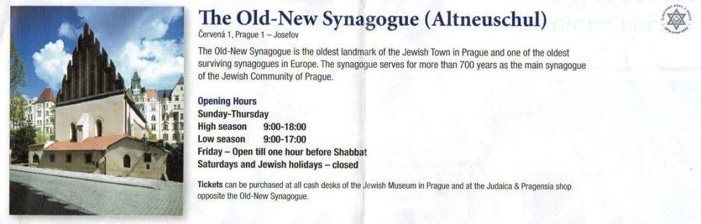 Horario Sinagoga Praga