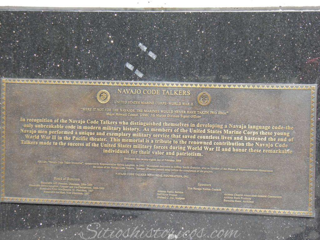 placa conmemorativa code talker navajo