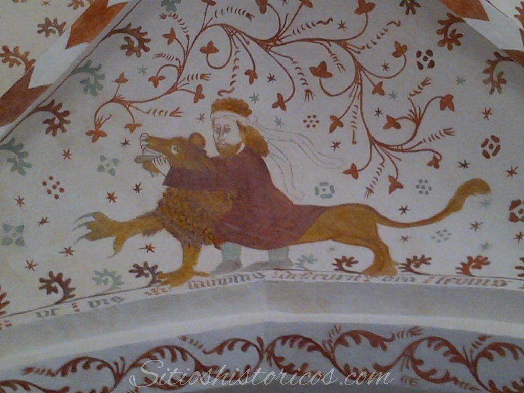 Frescos Sansón dando muerte al león