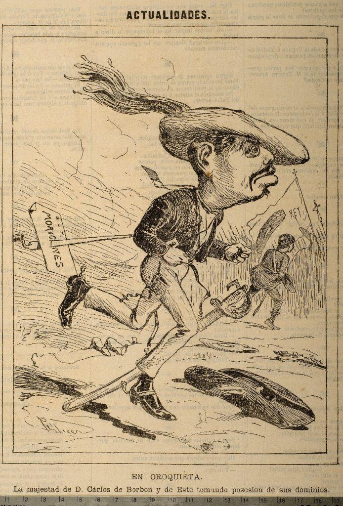 Caricatura de la época de Carlos VII huyendo en Orokieta. Origen: http://www.albumsiglo19mendea.net/cas/ficha.php?foto=001668&codigo=1668